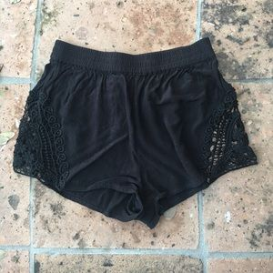 Black Shorts with Lace Detail Size Small